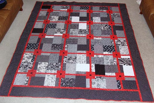 Red, black and white quilted