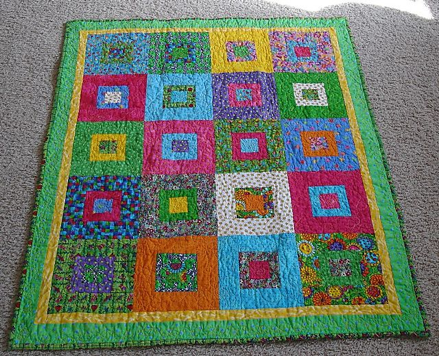 Suzi s quilts square in square small baby quilt