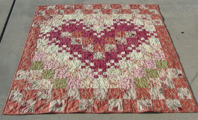 Watercolor heart quilt